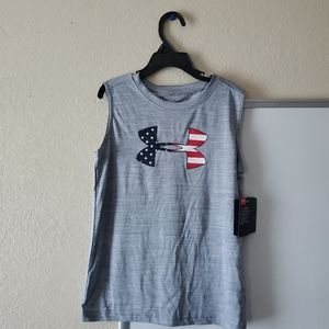 NWT Under Armour Little Boys 7 Gray/Red/White/Blue